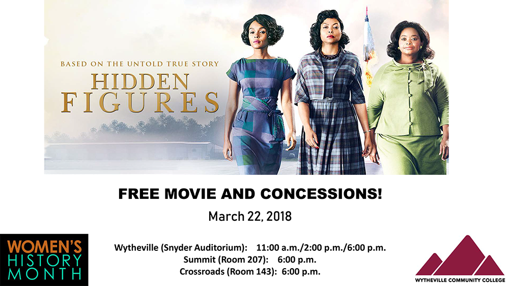 Free Movie and Concessions - Hidden Figures - March 22