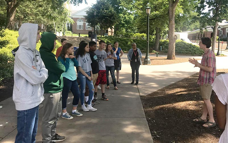 Talent Search students touring a college campus