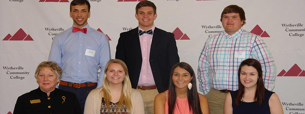 Wythe-Bland scholarship recipients with foundation board member