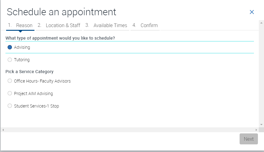 Schedule an appointment in EAB Screenshot