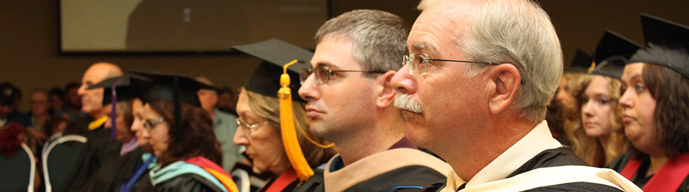 Faculty in their graduation regalia at WCC's commencement ceremony