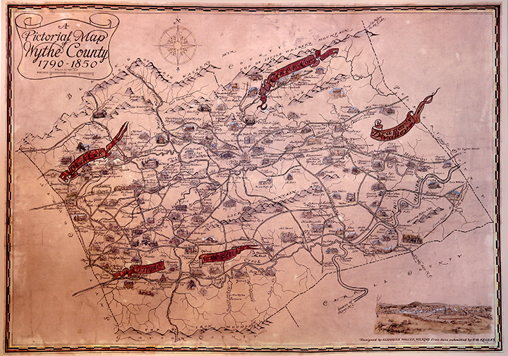A Pictorial Map of Wythe County, 1790-1850