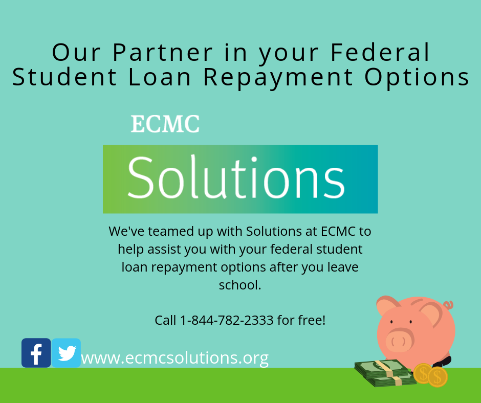 ECMC Student Loan Repyment Solutions to assist student with repaying their federal student loans
