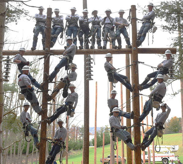 21 Power Line worker graduates on H frame structure
