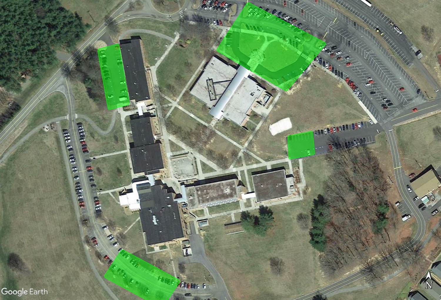 Map showing parking areas where WCC students can access Wifi - complete description listed below
