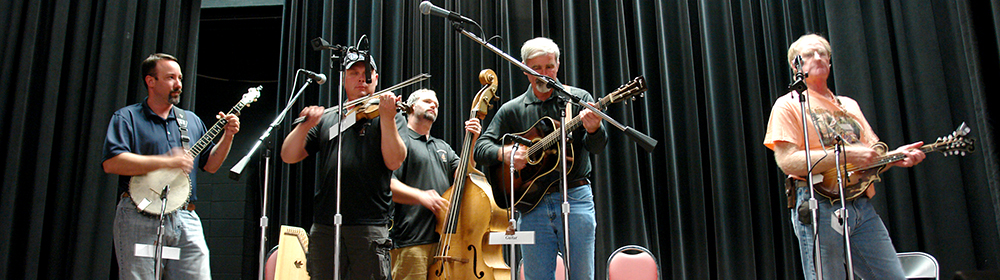 Bluegrass Band performing on Counts Stage in Snyder Auditorium