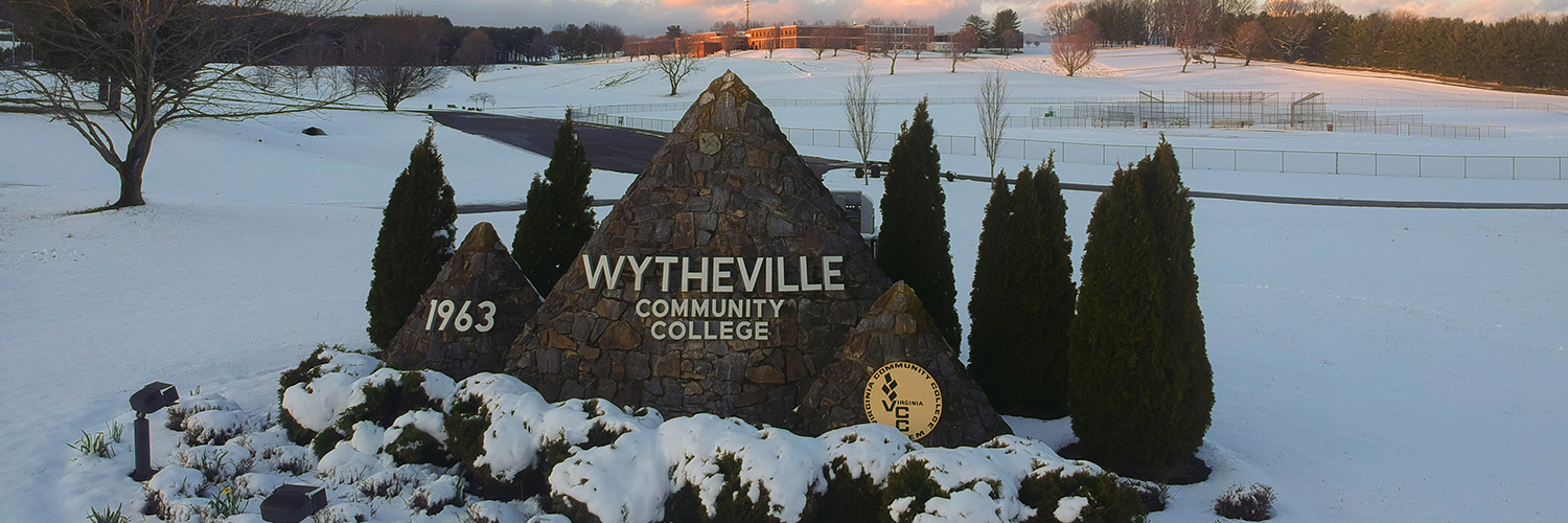 Snow on WCC Wytheville Campus at the Stone WCC Sign
